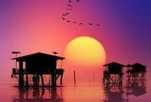 Sunset/rises