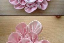 Flores de Fitas e tecidos