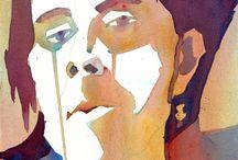 Portraits, akvarel