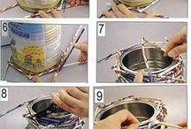 вазы из консервных банок и газетных трубочек