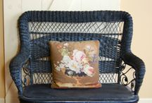 Vintage Wicker for the Country Home / Vintage Wicker is a perfect way to dress up that porch at your farmhouse or cottage...  Living in the country a vintage wicker sofa is a must for your porch..