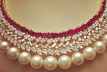 Pearl ruby diamond wedding set