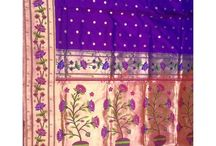 Paithani Sarees / Paithani sarees are made in the town Paithan in Mahrashtra state of India. In this art, the motifs like birds, flowers, etc. are woven into a background of metallic golden zari by bright coloured threads, mostly in the borders and the end part called pallu of the saree.