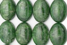 Chrome Diopside beads, cabochons and nuggets