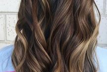 Dark hair with caramel highlights/balayage