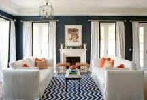 Living Room Ideas / Navy and white with seasonal accent color / by Jill Cappaert