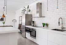 White tiles in kitchen and bathroom