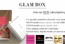 GlamBox /  A specially curated box of jewelry every month $19.99/month (each box value $25 - $50) GLAMBOX Mini Bag  $29.99/month (each box value $50 - $100)  Free shipping within the United States  Switch Styles, Skip the Month, or Cancel at any time