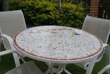 FC mosaicos / Mesa feita em mosaico de mármore