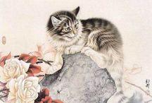 Рисунки кошек.