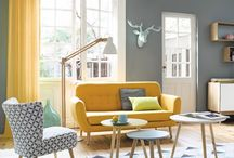 yellow grey living room