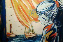 Felicia e il mare / dipinto su porta di legno scorrevole