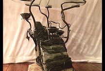 Rustic Furniture / Rustic themed furniture utilizing reclaimed wood, glass and metal. / by Ancient Art Blacksmithing