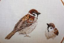 Embroidery birds animals