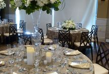 Beach Side Wedding & Reception / Bay side beach wedding reception in Stone Harbor, NJ, with our Bengaline Chocolate Brown table cloths topped with Mason Taffeta, accompanied by Walnut Bengaline napkins. Photos by Gala Cloths Designer & Linen Rental Consultant in NJ, DE, PA, Nancy Bauman!