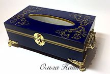 Decorative boxes / Decoupage tissue boxes, wooden container.