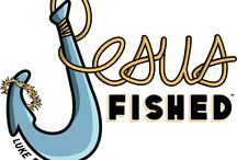 """Jesus Fished / """"....the people were crowding around him and listening to the word of God....But because you say so, I will let down the nets....Don't be afraid; from now on you will fish for people. So they pulled their boats up on shore, left everything and followed Him"""" -- Luke 5:1-11  #JesusSurfedApparelCo  #JesusFished #JesusSurfed #ChristianClothing #SpreadTheWord  www.JesusSurfed.com"""