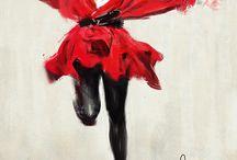 signora in rosso