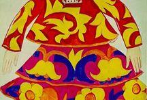 Natalia Goncharova costume Designs / From Wikipedia:Natalia Sergeevna Goncharova (Russian: Ната́лья Серге́евна Гончаро́ва, IPA: [nɐˈtalʲjə sʲɪrˈɡʲejɪvnə ɡənt͡ɕɐˈrovə]; June 16, 1881 – October 17, 1962) was a Russian avant-garde artist, painter, costume designer, writer, illustrator, and set designer. Her great-aunt was Nataliya Nikolaevna Goncharova, wife of the poet Alexander Pushkin.