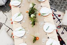 :: TABLESCAPES INSPO :: / Tabletop design incorporating texture, florals, flatware, and fine lines.