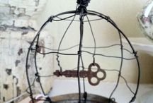 Vintage key cage / Zinc can & key