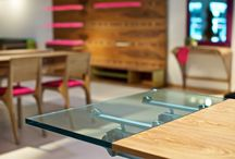 Rosewood extendable dining table with glass extension / www.nayadesign.eu