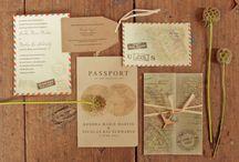 Beautiful travel themed wedding invitations