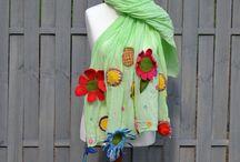 Felted Flowers  handmade / Filcowane Kwiaty Rękodzieło / Felted Flowers Handmade scarf jewerly brooch / Filcowane kwiaty szale biżuteria broszki