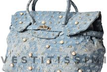 Borsa borsetta donna fantasia jeans perle handbag