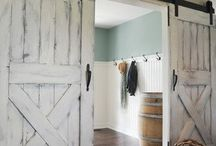Barn Door Decor / Barn doors or similar ideas are great for room dividers and small spaces - the pocket door without the pocket. Especially interested in Barn Doors with coastal feel