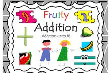 Kindergarten Math (Addition up to 18) / Kindergarten Math (Addition up to 18). Are you looking for ways to help your students/child learn addition? Kids will ENJOY practicing addition with this fruity theme.  By counting the fruit on the mat and creating the basic addition equations, kids reinforce the concept of adding, and get to practice addition as well.