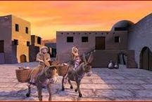 Camino a Belén / CAMINO A BELEN (LC II, 1-20)  Se promulgo un edicto del César Augusto para que todos los pobladores del Imperio se empadronasen. El empadronamiento tenía que hacerse en la ciudad de origen de la estirpe a que se pertenecía, por lo que, siendo San José de la estirpe de David, tenía que empadronarse en Belén y hacia allí se dirigieron.