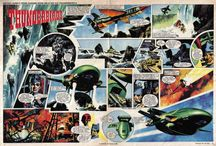 THUNDERBIRDS ARE GO! / Frank Bellamy (21 May 1917 – 5 July 1976) was a British comics artist, best known for his work on the Eagle comic, for which he illustrated Heros the Spartan and Fraser of Africa. He reworked its flagship Dan Dare strip.  He also drew Thunderbirds in a dramatic two-page format for the weekly comic TV Century 21.