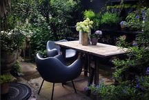Cool Outside Spaces / Amazing outside spaces, more design than gardening with a healthy dose of cosy, Moroccan, BoHo, Modernist, & of course black!