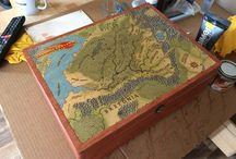 handcraft / Box for gamemaster. Wood, maps, RPG