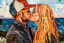 Collage Mosaic illustrations mixed media