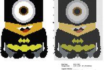 Schemi punto croce gratis Minions / Schemi punto croce gratis Minions, I Minion, schemi punto croce cartoni animati per bambini.