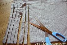 Virkade korgar / Virka korg med t-shirts klippt till garn