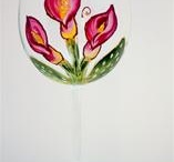 Painted Wine Glasses by A Wincy Glass N' Design / A Wincy Glass Signature Wine Glasses Collection - They are a series of floral hand painted glasses geared to personalities. They are fun and stylish and make magnificent hand painted gifts for any occasion.  The personal types are painted on base of glass.