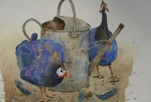 Guinea fowl with watering can
