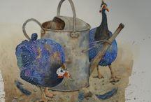 Guinea Fowl and Farm Birds
