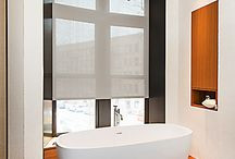 """Bathroom window treatmens / I am being asked often """"what type of window treatments can we install in our bathroom"""", well i created this Board with images from Shades By Design installations at different bathrooms. I hope you will be inspired and for any questions contact is at info@shadesbydesign.com"""