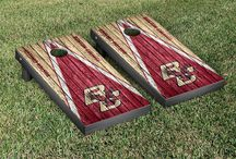 "ACC Gamedays | Victory Tailgate / Our officially licensed collegiate cornhole games are made proudly in the USA. Each game set comes with two 24""x48"" regulation boards with folding legs, a complete bag set (8 bags), and a FREE string pack to carry the bags (A $10 value!)"