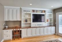 Cottage tv/desk wall