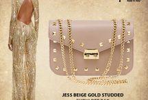 Jess Beige Studded Italian leather handbag