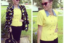 Yellow Ledbetter / Thrifted blouse and jacket Express skirt Sam Edelman pumps Thrifted gold jewelry Henri bendel bag Check out my blog at www.style-rehab.com