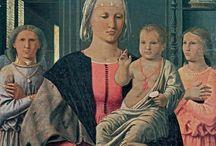 Пьеро делла Франческа. / Пьеро (Пьетро) ди Бенедетто деи Франчески более известен как Пьеро делла Франческа (по имени матери, «…ибо она осталась беременной им, когда его отец и её муж умер…») Произведения мастера отличают величественная торжественность, благородство и гармония образов, обобщённость форм, композиционная уравновешенность, пропорциональность, точность перспективных построений, исполненная света мягкая гамма.