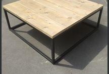 Salontafel staal en steigerhout