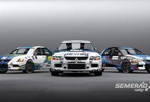 Semerád Rally Team - J. Semerád, M. Semerád, M. Hudec (Mitsubishi Lancer Evo IX) / New design for team Lancers, first seen at Setkání mistrů 2012.