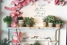 flores areglos en pared artific